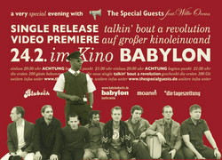 Flyer: The Special Guests – Konzert Kino Babylon (Hinten – Bandfoto von Anja Pietsch)